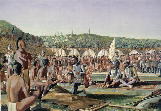 Watercolor made by Lawrence R. Batchelor, circa 1933, showing Jacques Cartier visiting the village of Hochelaga on October 3, 1535