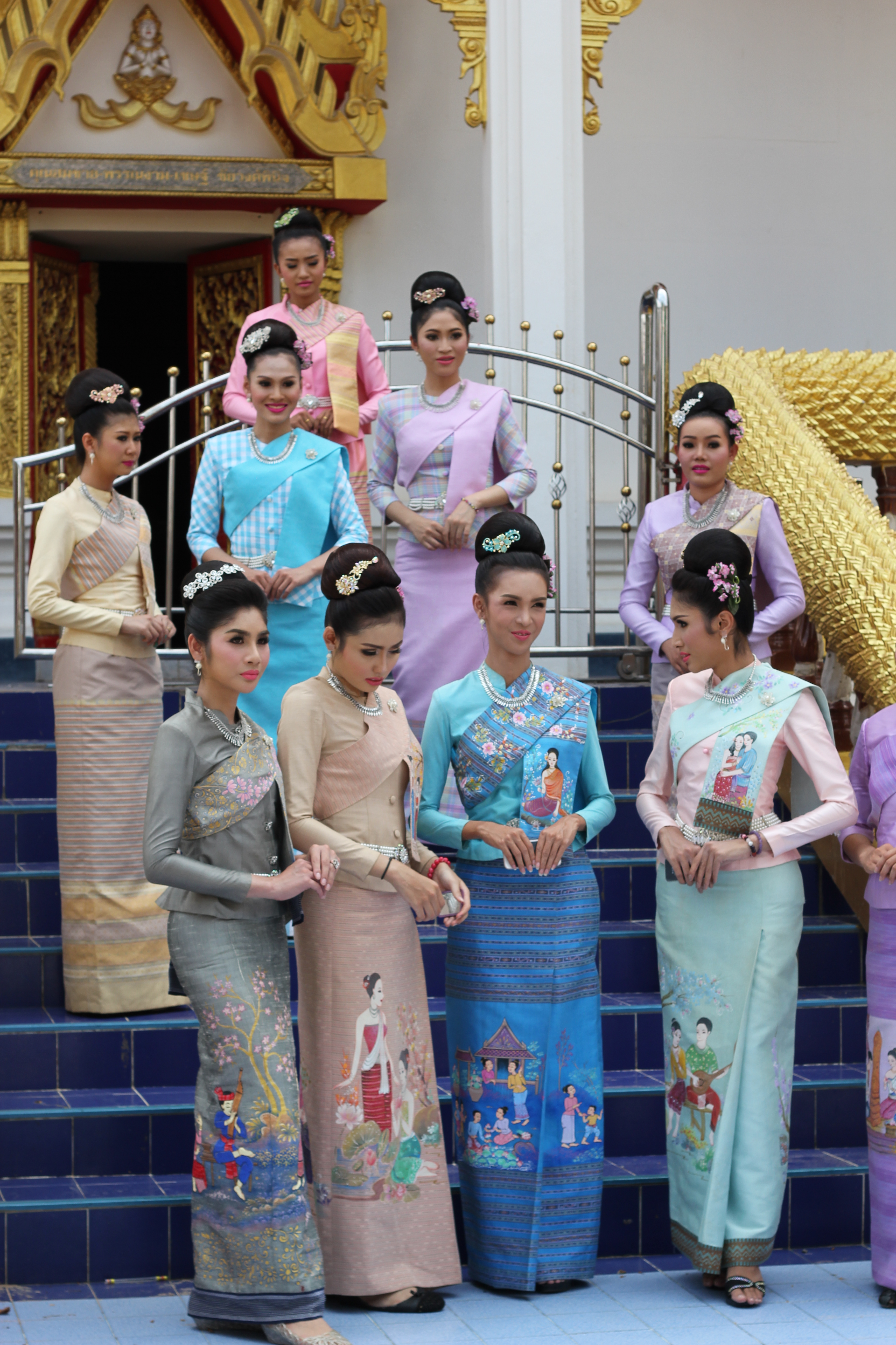 Isan dress for Hae Bang Fai parade in Suwannaphume, Roi Et Province, Thailand, by Look Lanh Muang Sriphume Club. Photo taken on June 6, 2015.
