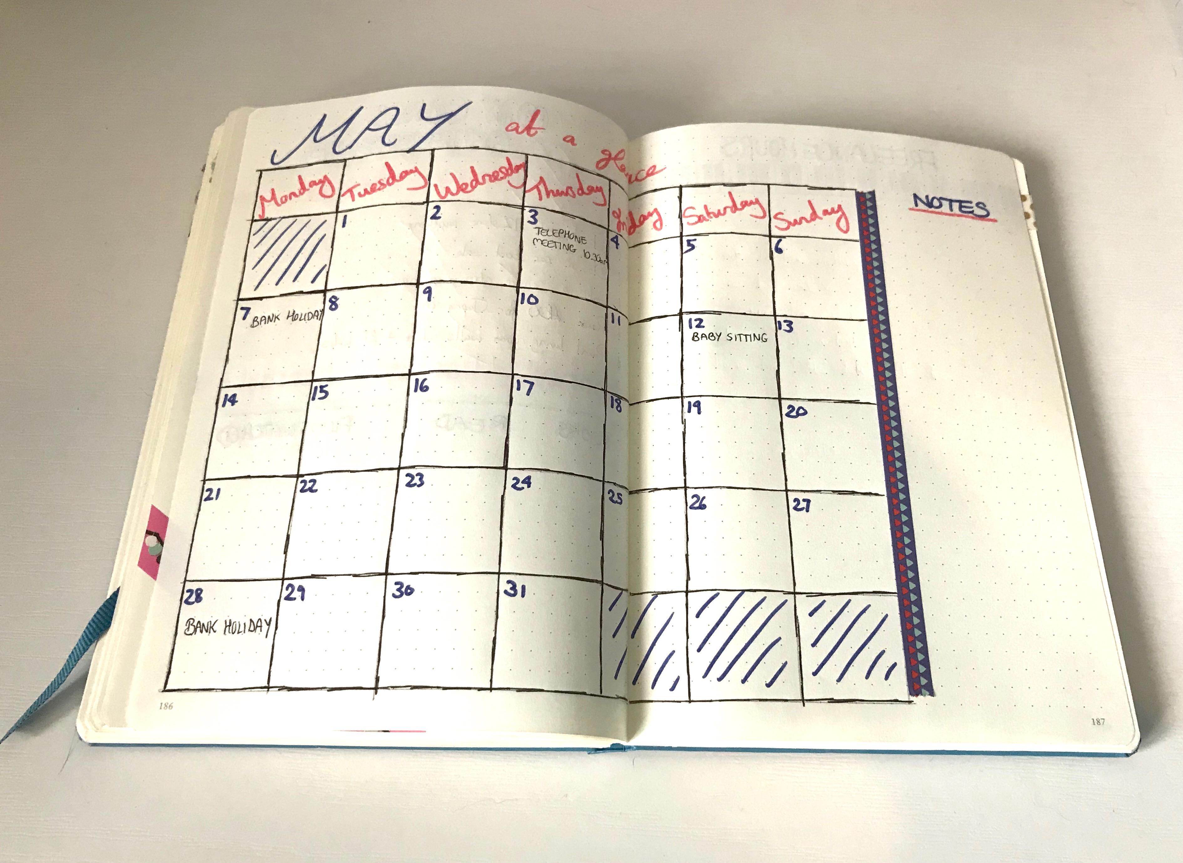 May Goals - calendar