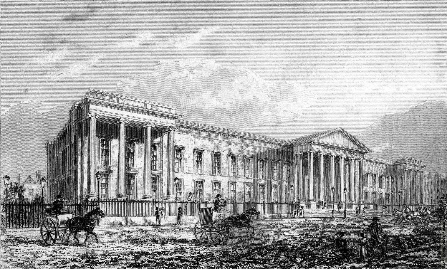 The 19th century headquarters of the General Post Office in St Martins-le-Grand in the City of London.