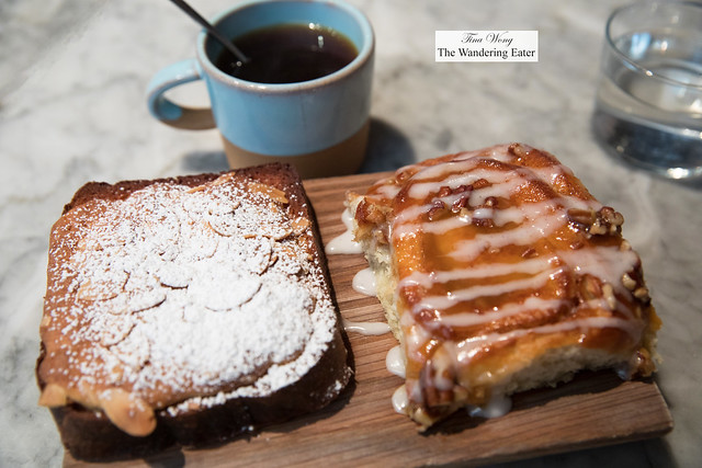 Coffee and pastries - almond brioche and sticky bun