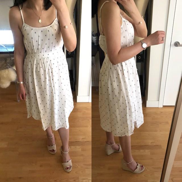 LOFT Polka Dot Strappy Dress, size XXSP