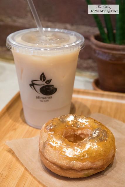Iced black oolong tea with brûlée mochi donut
