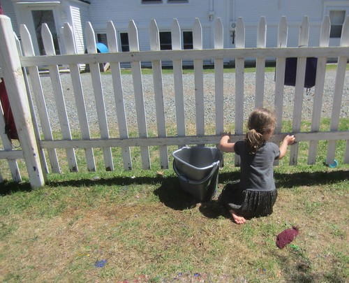 cleaning the paint off the fence
