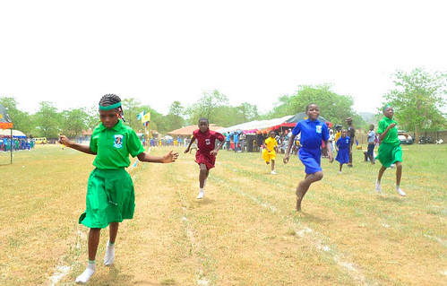 One of the sports events at the biennial inter-house sports competition at St Joseph's Nursery and Primary School, Iseyin