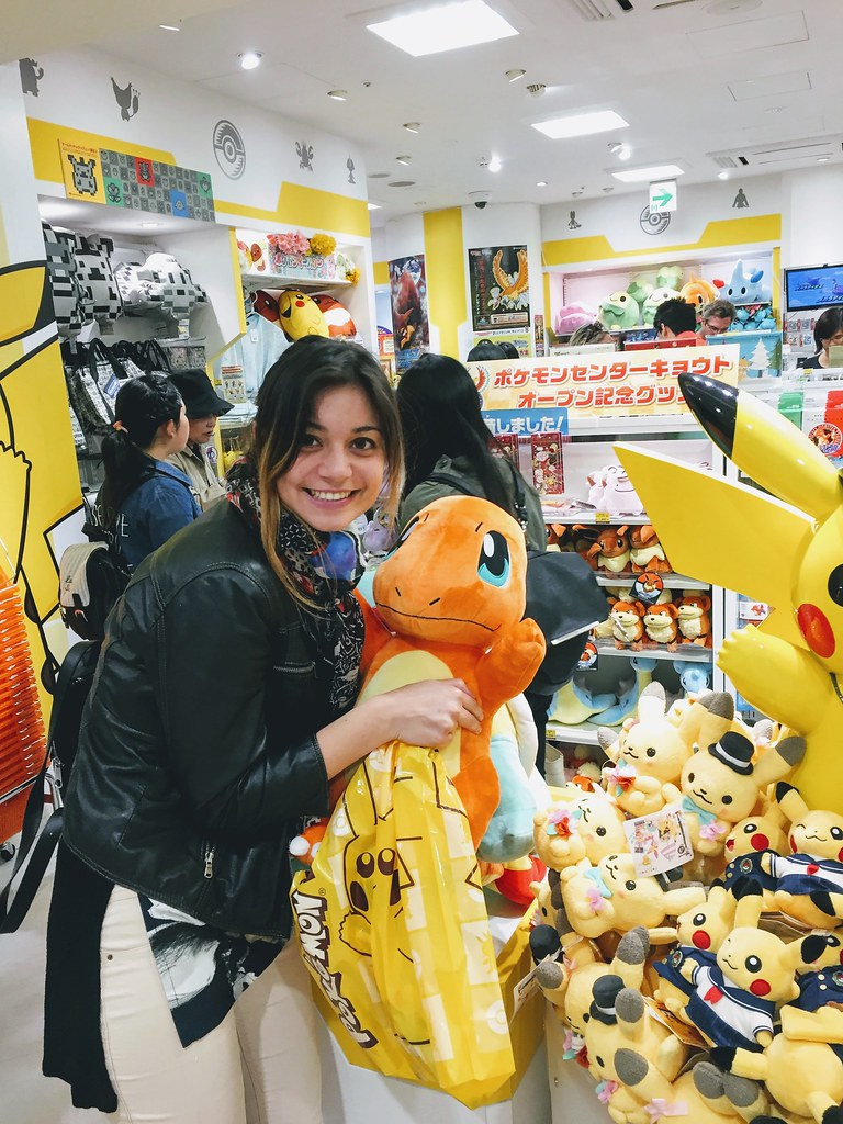 Having fun at the Pokemon store