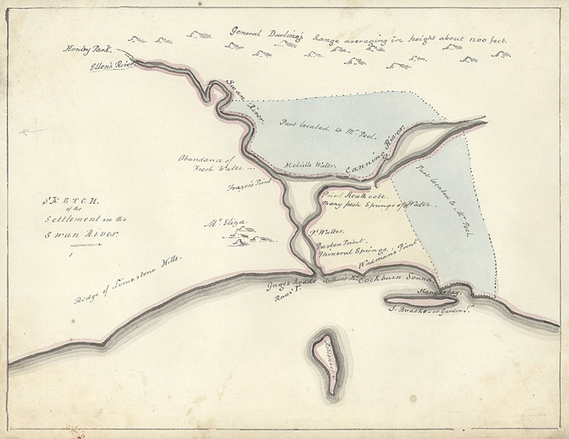 Stirling's sketch map of the settlement at Swan River, Western Australia.