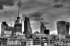 London skyscrapers monochrome
