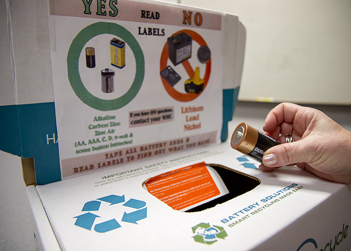 a battery being recycled.