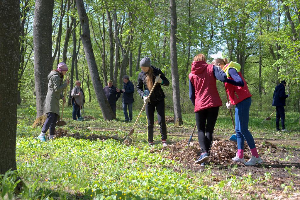 Ученики лермонтовской школы на уборке парка Апалиха в рамках акции «Сохраним красоту старинных парков» в «Тарханах»