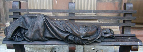 Manchester = Homeless Jesus monument in St. Annes  Square