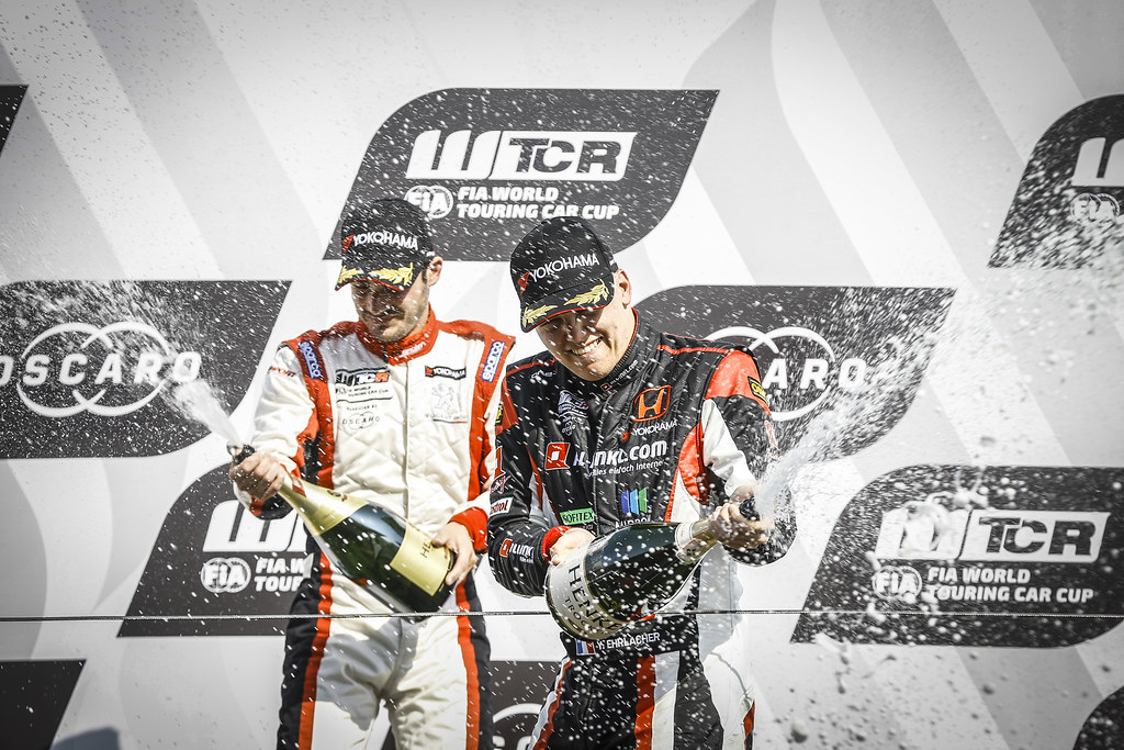 EHRLACHER Yann, (fra), Honda Civic TCR team ALL-INKL.COM Munnich Motorsport, portrait, finish celebrating victory, podium ambiance during the 2018 FIA WTCR World Touring Car cup of Zandvoort, Netherlands from May 19 to 21 - Photo Jean Michel Le Meur / DPPI