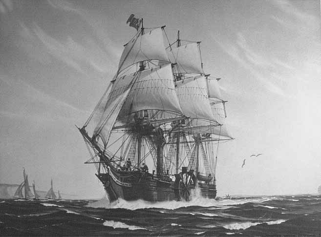 A painting of SS Savannah, 1819, by Hunter Wood