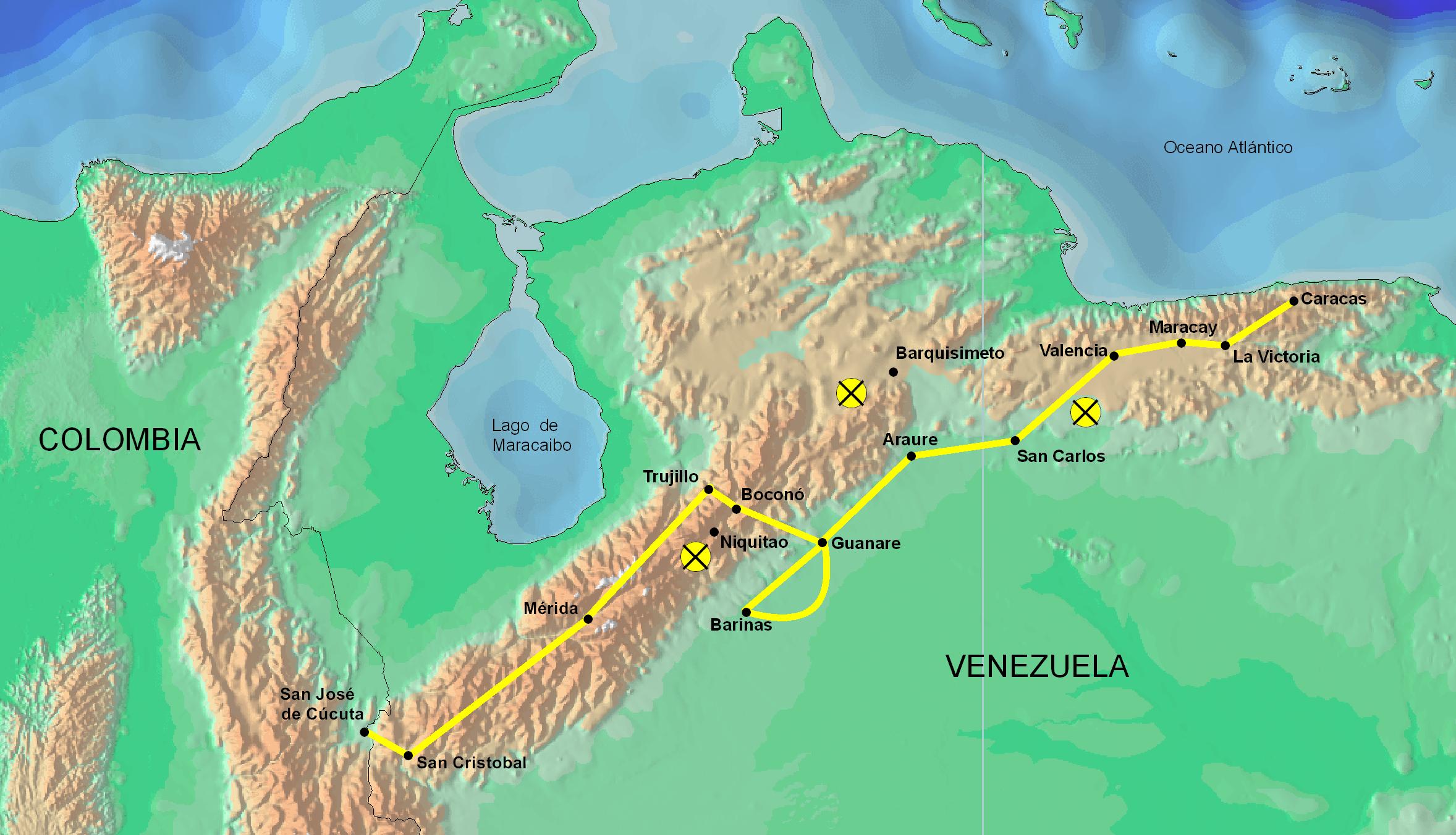 Route of the Admirable Campaign, Venezuela 1813