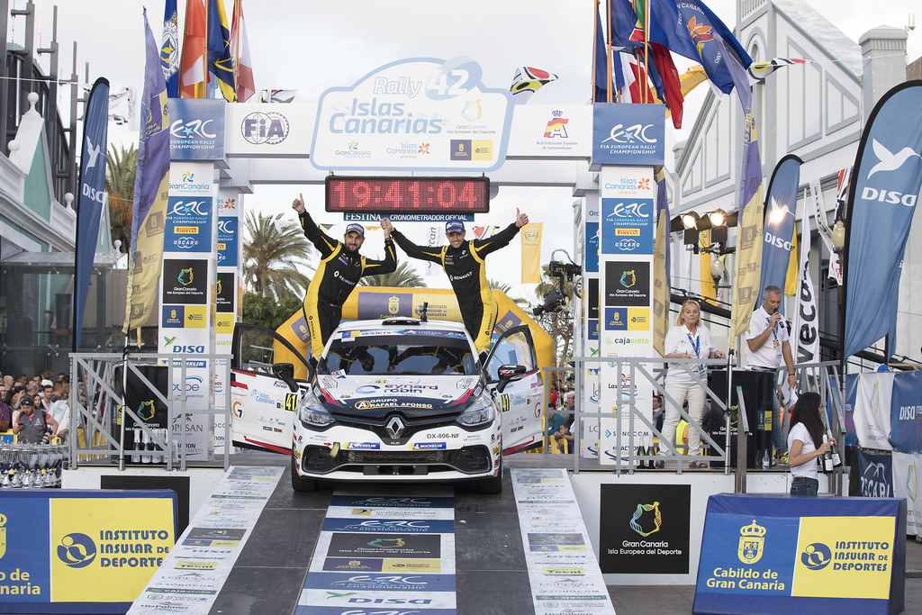 BERNARDI Florian, BELLOTTO Victor, Team Bernardi Florian, Renault Clio R.S., portrait podium ambiance during the 2018 European Rally Championship ERC Rally Islas Canarias, El Corte Inglés,  from May 3 to 5, at Las Palmas, Spain - Photo Gregory Lenormand / DPPI