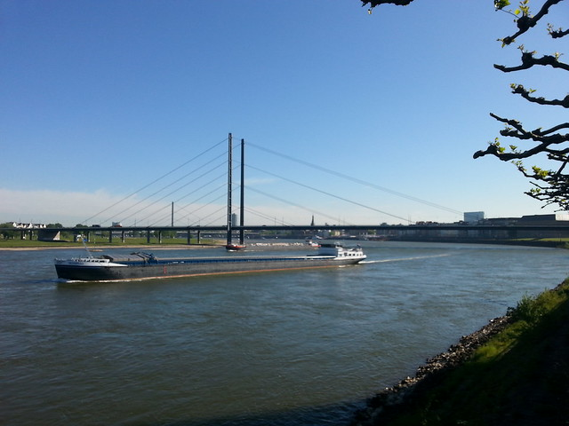 A barge on the Rhine at Düsseldorf