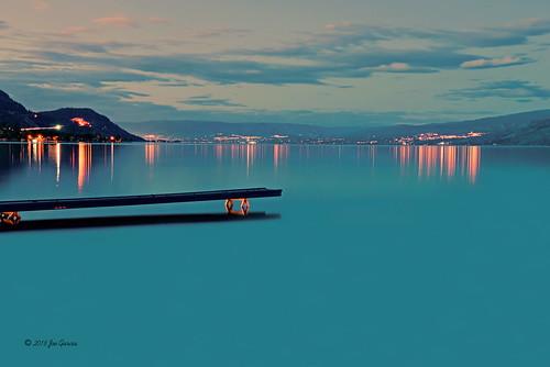 ok okanagan lake okanogan valley kelowna pier dock wharf joeinpenticton joe jose garcia peachland nightscape landscape reflection reflections sunset sun rise set sunrise connector light lights