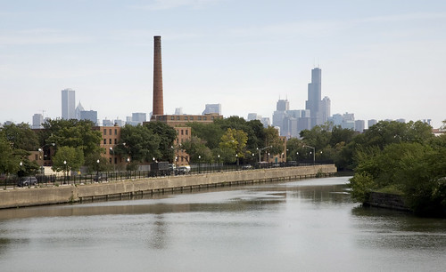 Lathrop Homes as viewed from Diversey Bridge
