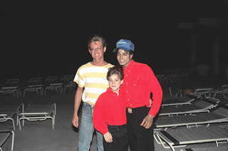 Alan Light with Michael Jackson and Jimmy Safechuck (first photo - Michael's eyes closed)  We took another one