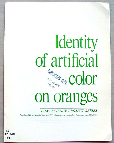 Identity of artificial color on oranges