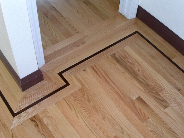 Red oak hardwood floor walnut border inlay flickr Hardwood floor designs borders