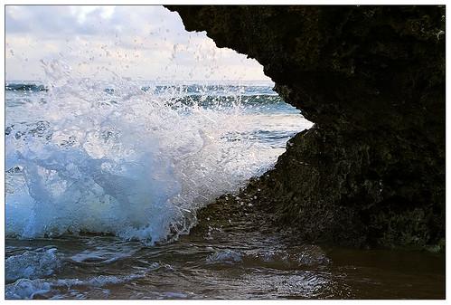 blue sky white black beach yellow clouds sunrise photo sand rocks waves wave spray atlantic barbados caribbean reef bathsheba atlanticocean soupbowl eastcoast 1on1 oceanspray thecontinuum 2for2 lonelyobjectsgroup datsevolution