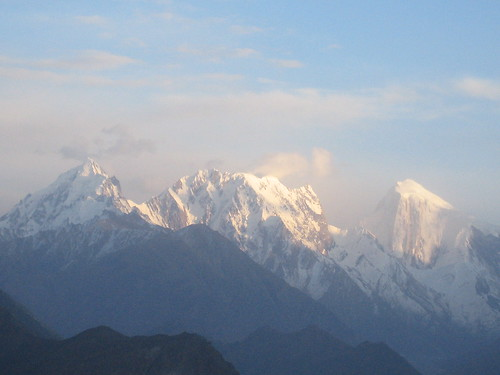 Evening sun on Rakaposhi peak in the Karakoram, from Duikar viewpoint, Karimabad