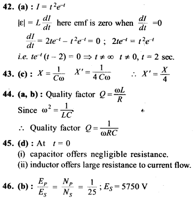 NEET AIPMT Physics Chapter Wise Solutions - Electromagnetic Induction and Alternating Current explanation 42,43,44,45,46