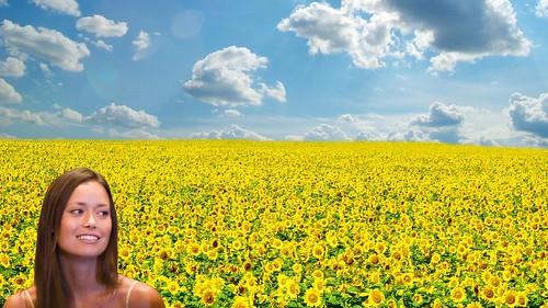 Summer Glau sunflowers