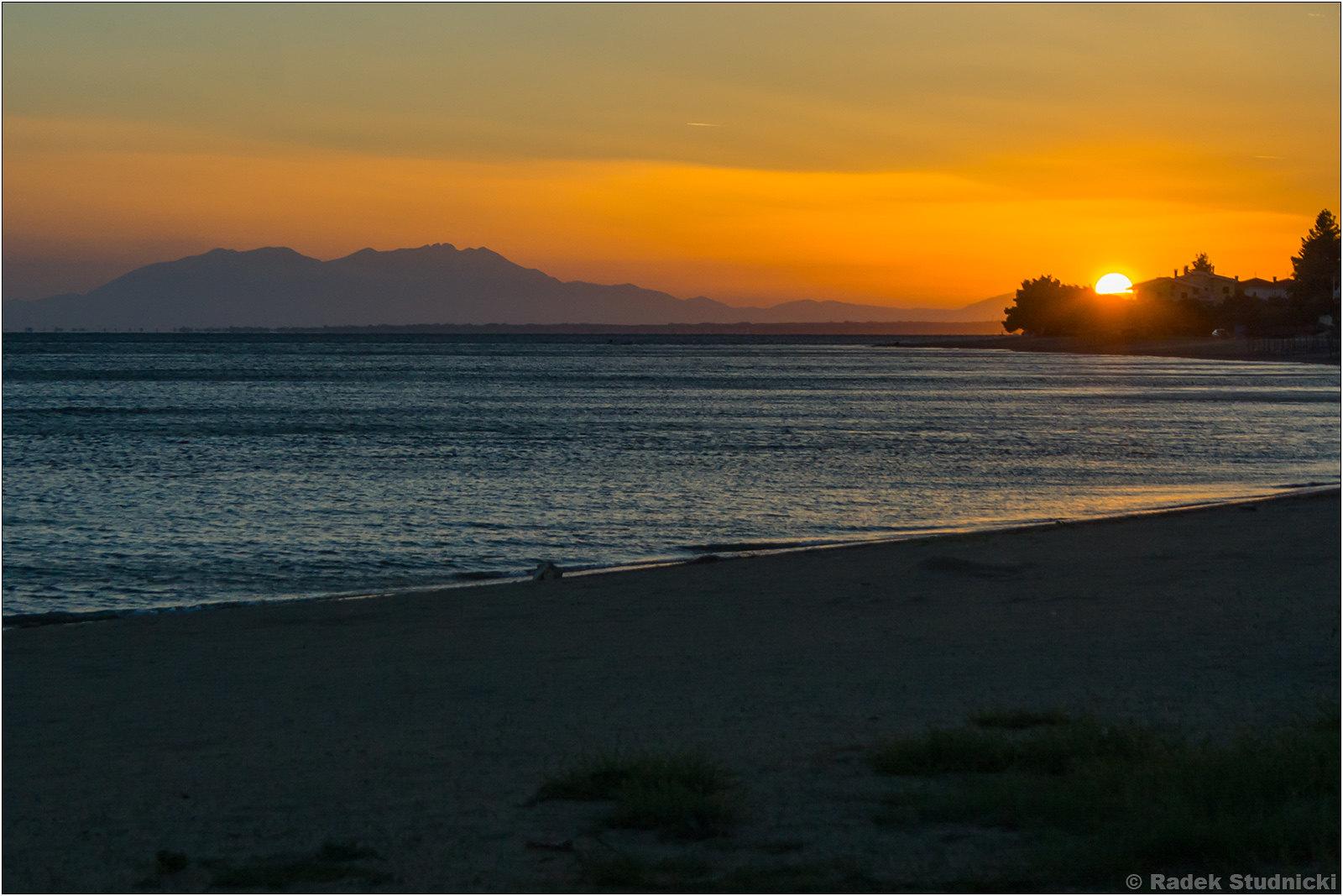 Zachód słońca nad Morzem Egejskim