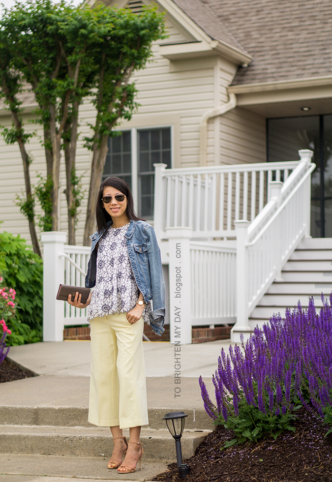 denim jacket, embroidered floral peplum top, pale yellow wide leg cropped pants, taupe clutch, brown knot sandals, gold watch