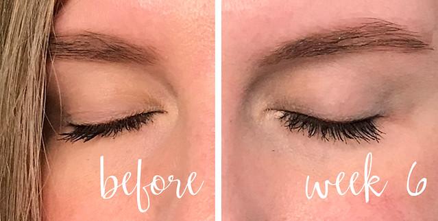 before and week 6 lashes mascara