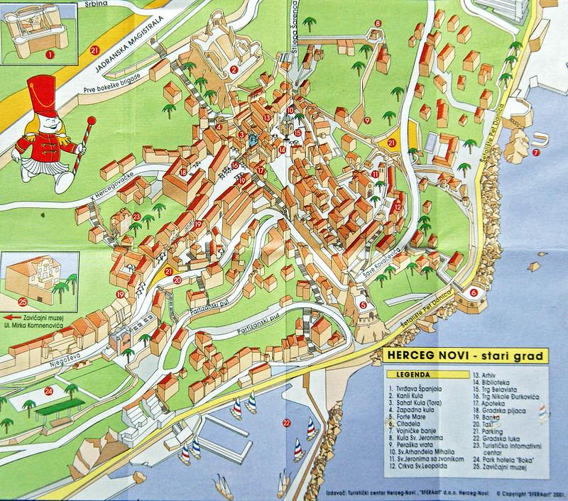 Подробная карта центра Херцег Нови