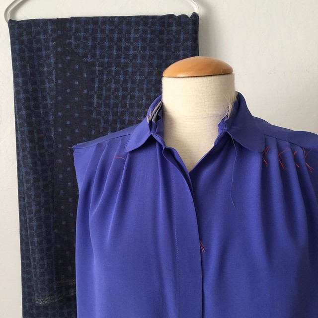 blue silk shirt in process