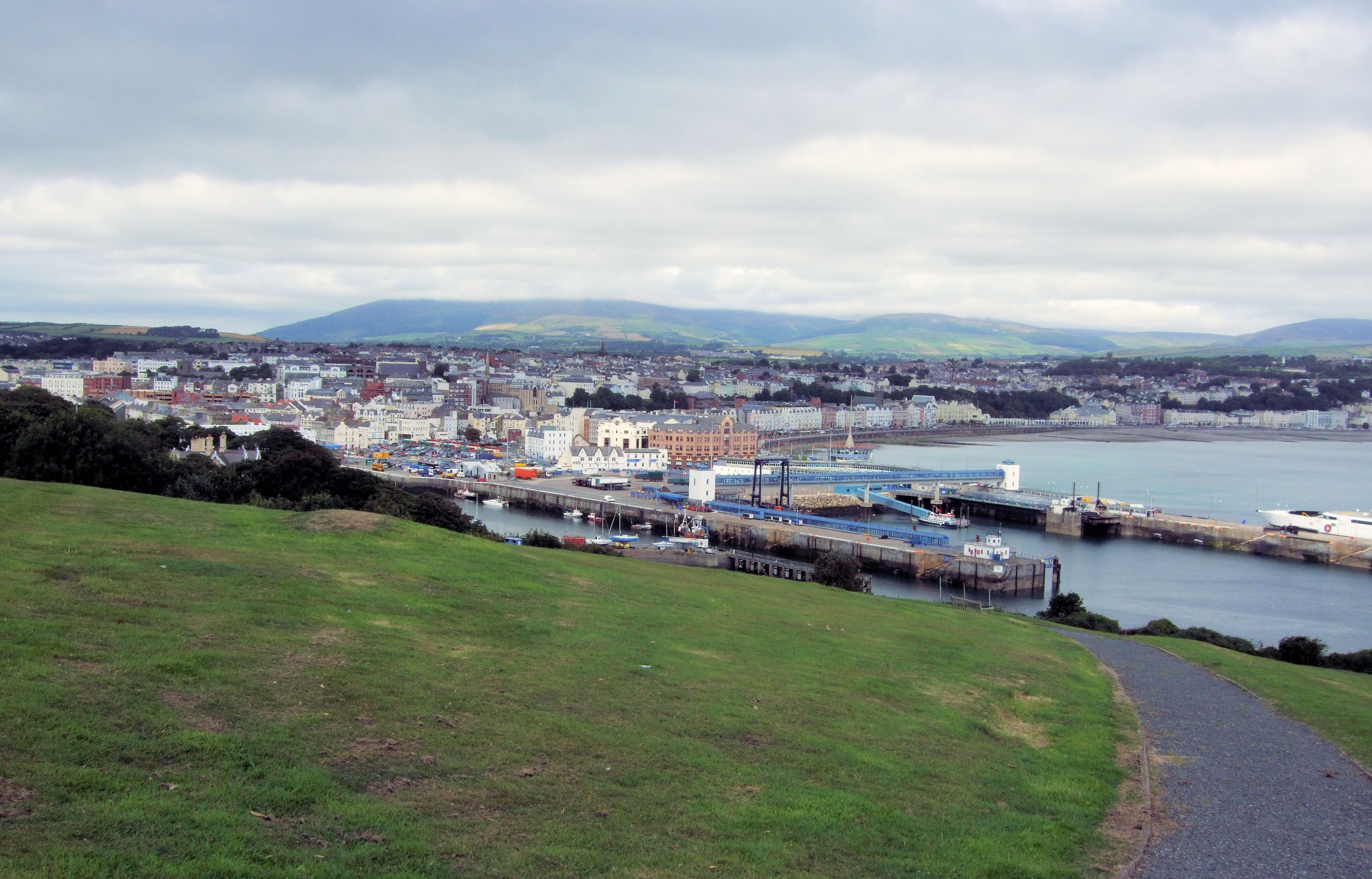 The view from Douglas Head, Isle of Man, towards the harbor with the ferry terminal of the Isle of Man Steam Packet Company in the center. Photo taken on August 11, 2009.