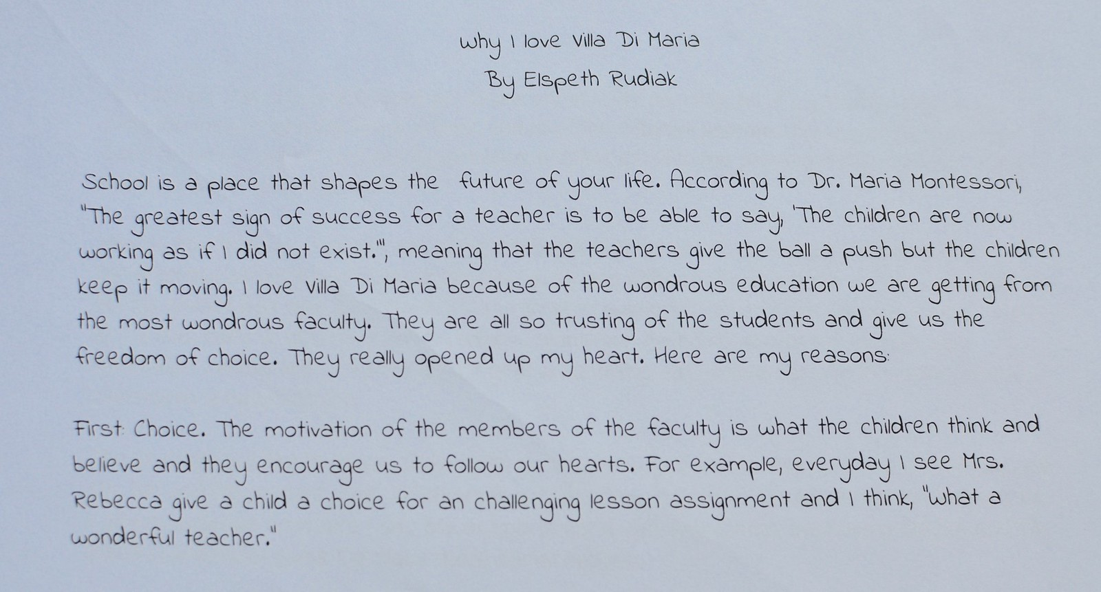 Essay About High School  Elementary Children Who Chose To Participate In This Outpouring Of Love  For Villa Di Maria We Look Forward To Seeing The Published Essay Soon English Argument Essay Topics also English Class Reflection Essay Why I Love My School Elementary Essay Entries  Villa Di Maria  Narrative Essay Thesis