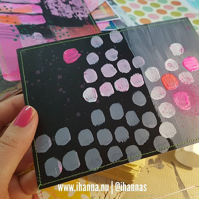 Black and Polka dot Painted postcard