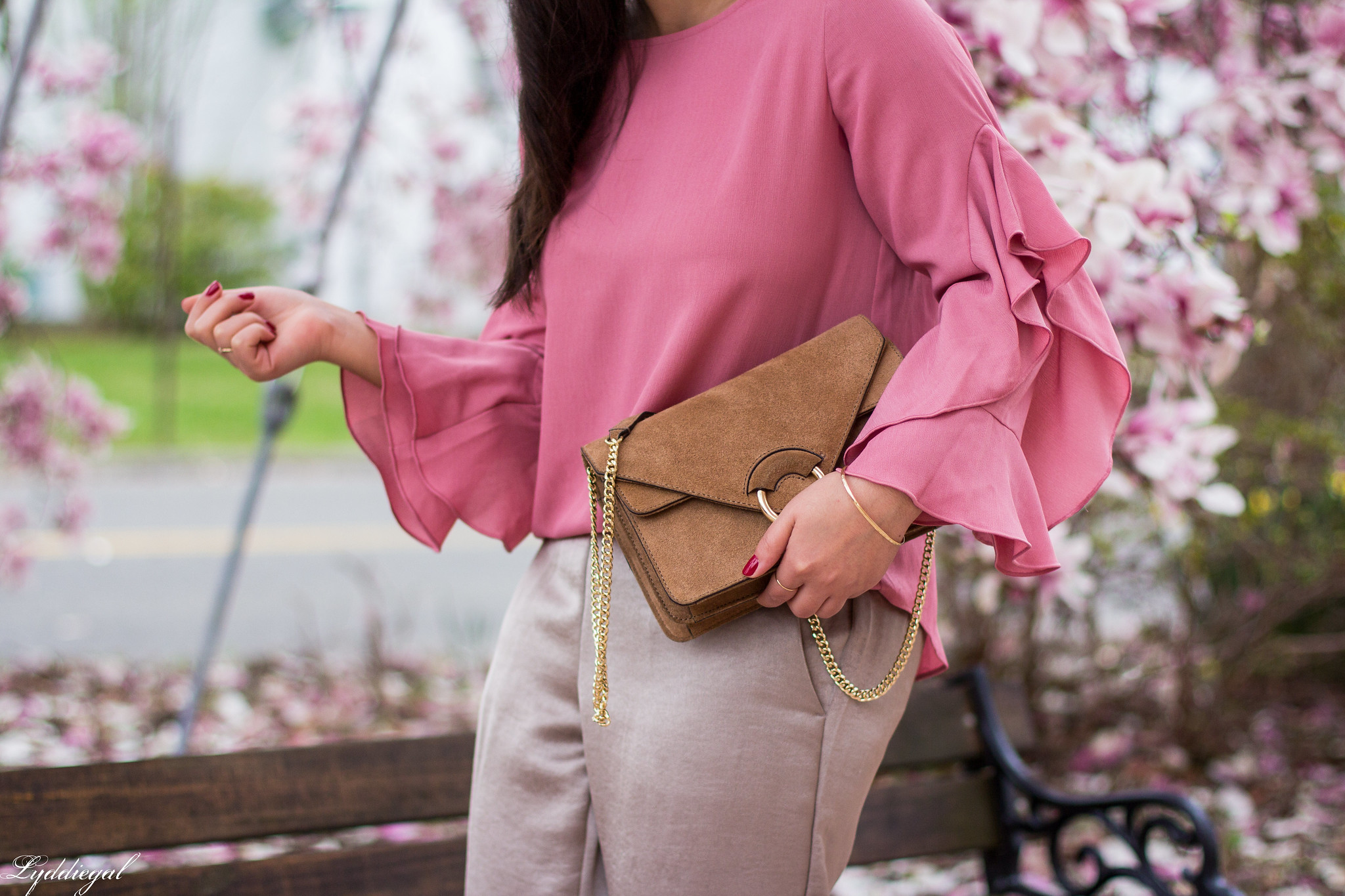 pink ruffled sleeve blouse, satin pants, suede ring bag-9.jpg