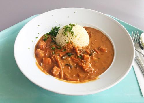 Coalfish tandoori with asia vegetables &  coconut rice / Tandoori vom Seelachs mit Asiagemüse & Kokosreis