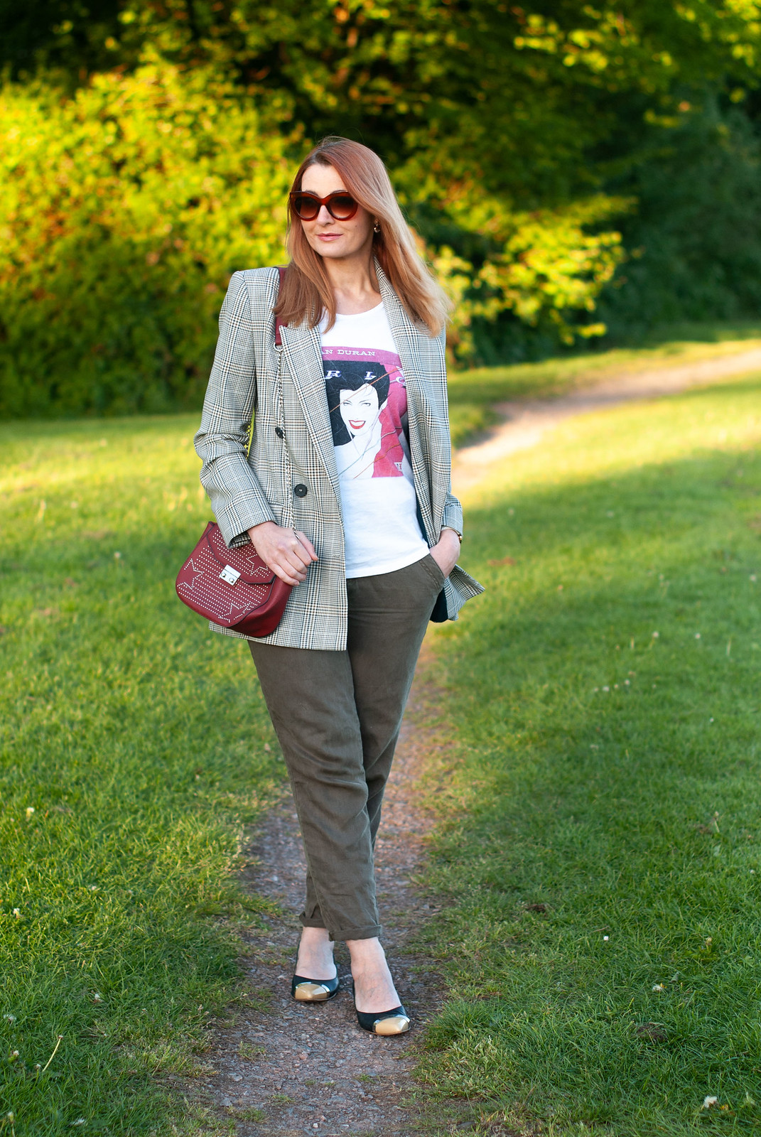 A Smart Casual Way to Style a Graphic T-shirt \ Duran Duran t-shirt \ Prince of Wales check blazer \ pointed flats \ baggy chinos | Not Dressed As Lamb, over 40 style