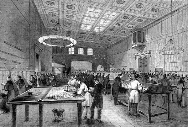 The Inland Letter Office at London's General Post Office. Illustrated London News, 1845.