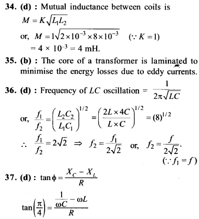 NEET AIPMT Physics Chapter Wise Solutions - Electromagnetic Induction and Alternating Current explanation 34,35,36,37