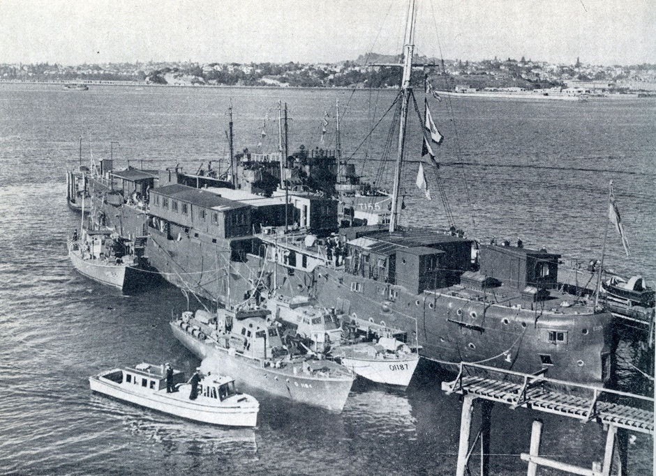 HMS Philomel as a training ship at Devonport in the 1940's.