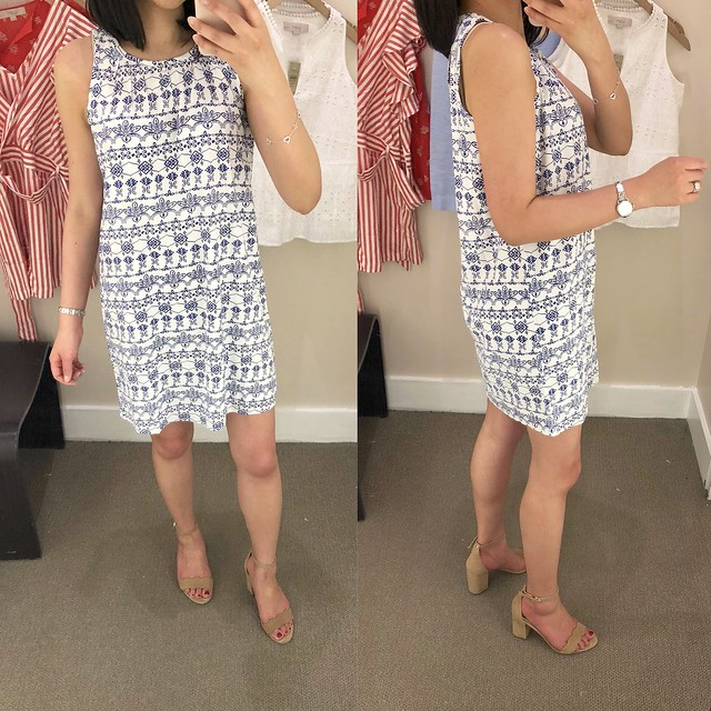 LOFT Eyelet Print Shift Dress, size XSP