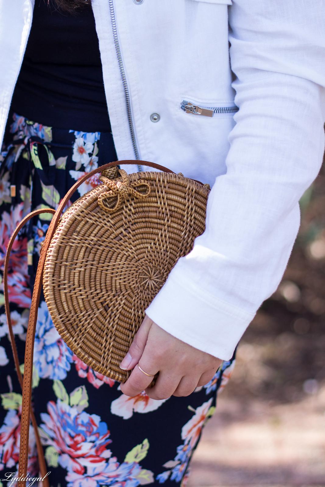 floral joggers, white linen jacket, round rattan bag-13.jpg