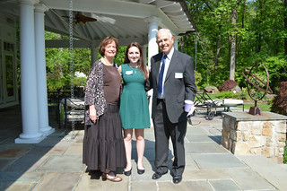 ScholarshipTea2017-2018_0096: Club President Florence Begun, RAMONA SEGREST PEYTON AWARD-recipient Jenna Venturi, and Mr. Peyton