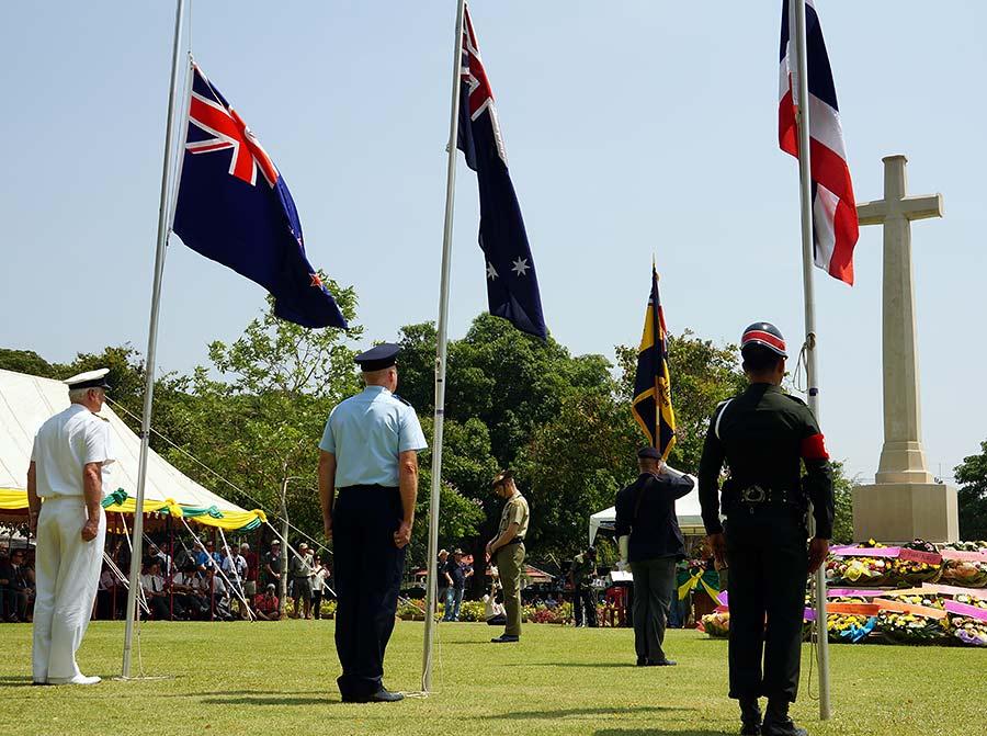 Anzac Day ceremony at Kanchanaburi War Cemetery in Kanchanaburi, Thailand