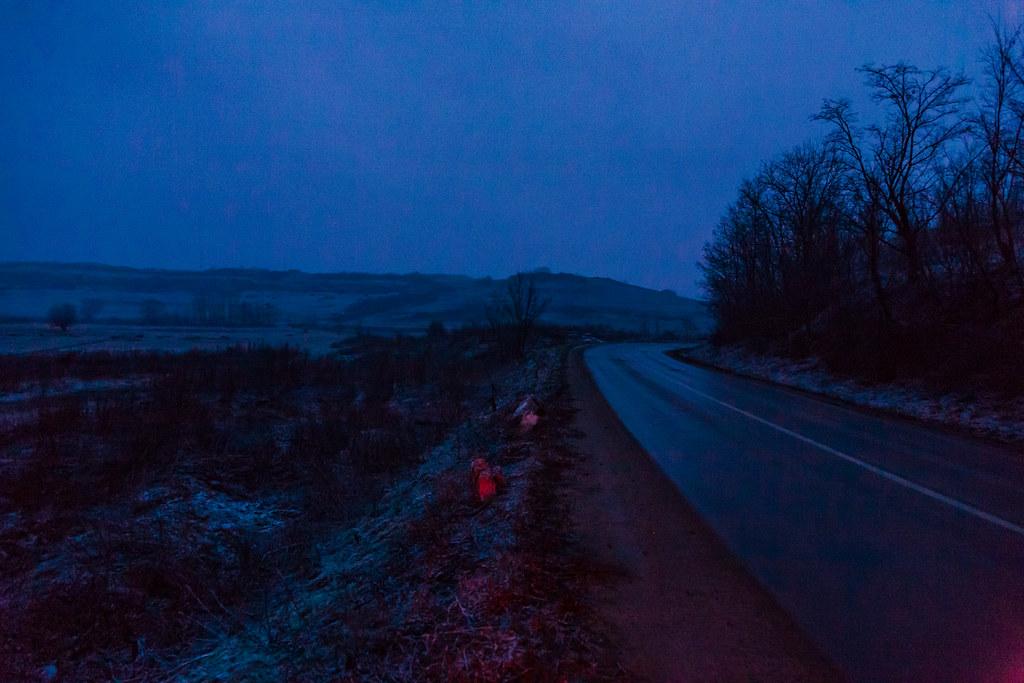 Brake lights at daybreak
