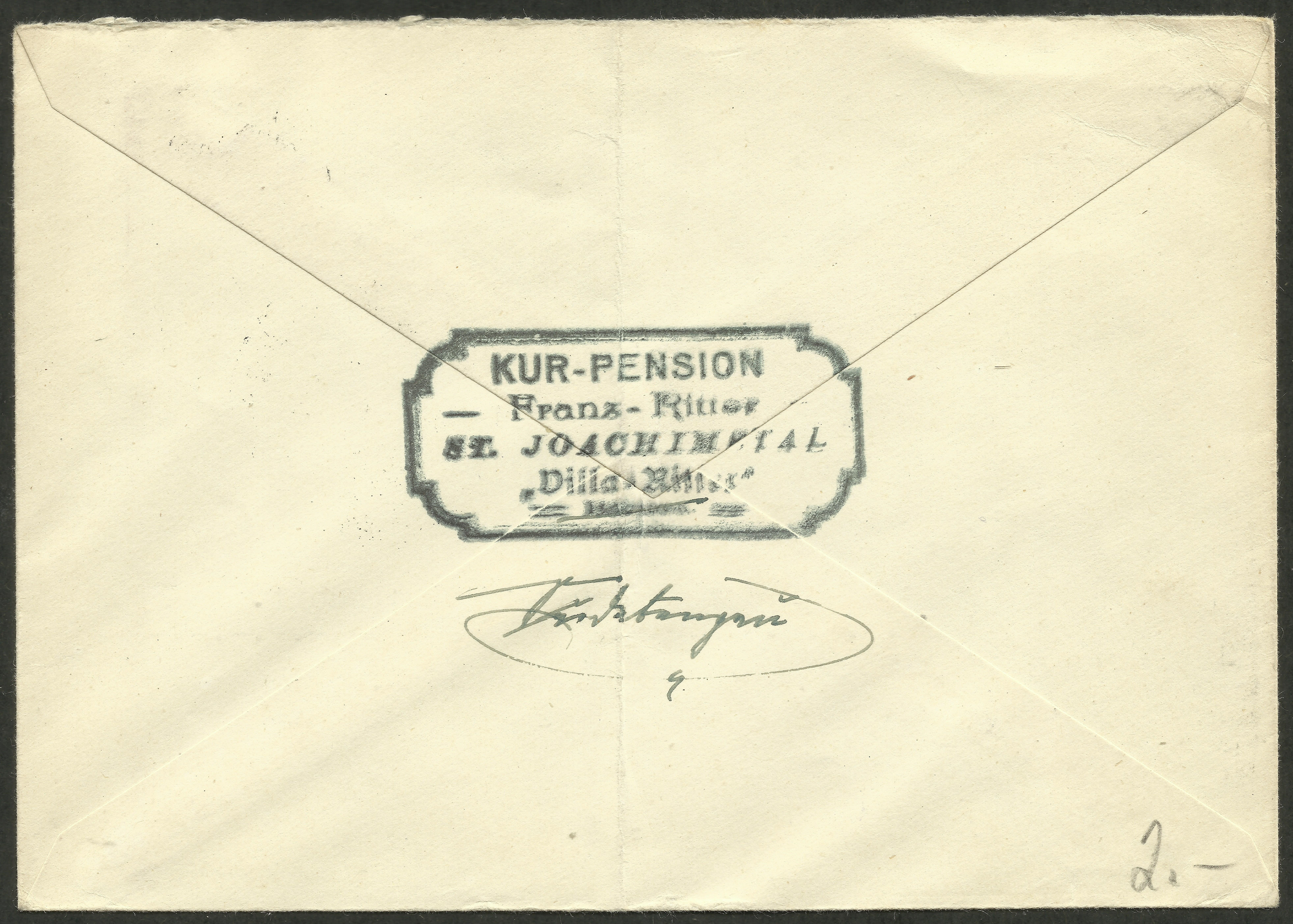 Reverse side of cover bearing Germany Scott #513 posted in Joachimsthal, Bohemia.