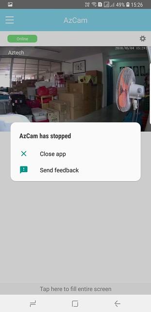 Aztech WIPC309HD - App Crash